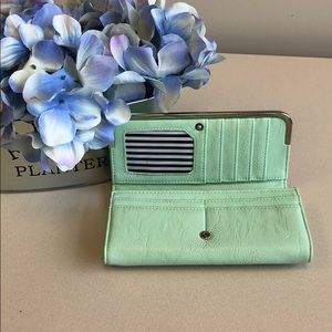 Mint green folding wallet
